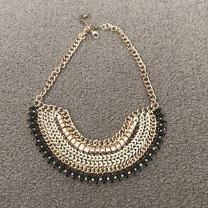 Gold and Black bib necklace